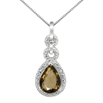 2.55Ct Pear Shaped Smokey Quartz and Diamond Pendant in 10K Gold