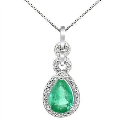 2.55Ct Pear Shaped Lab Created Emerald and Diamond Pendant in 10K Gold