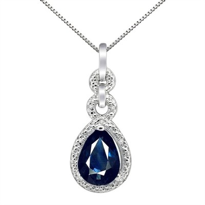 2.55Ct Pear Shaped Lab Created Sapphire and Diamond Pendant in 10K Gold