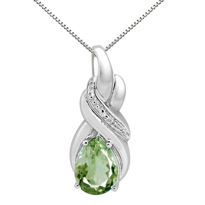 9.35Ct Pear Shaped Green Amethyst and Diamond Pendant in 10K Gold