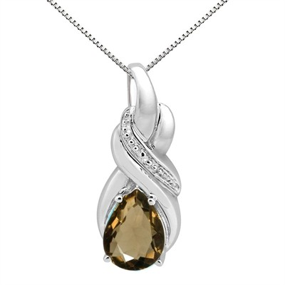 9.35Ct Pear Shaped Smokey Quartz and Diamond Pendant in 10K Gold
