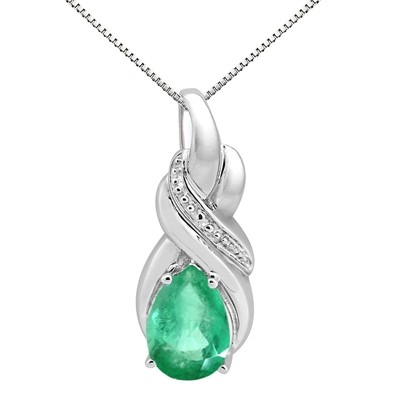 9.35Ct Pear Shaped Lab Created Emerald and Diamond Pendant in 10K Gold