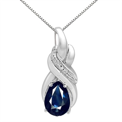 9.35Ct Pear Shaped Lab Created Sapphire and Diamond Pendant in 10K Gold