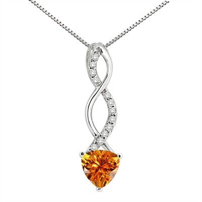 1.05Ct Trillion Shaped Citrine and Diamond Pendant in 10K Gold