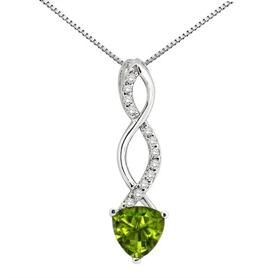 1.05Ct Trillion Shaped Peridot and Diamond Pendant in 10K Gold