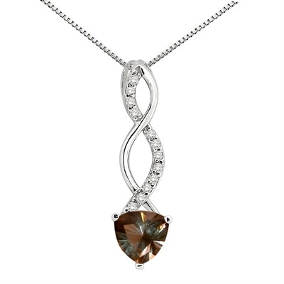 1.05Ct Trillion Shaped Smokey Quartz and Diamond Pendant in 10K Gold