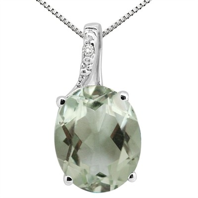 3.45Ct Oval Shaped Green Amethyst and Diamond Pendant in 10K Gold