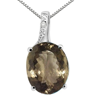 3.45Ct Oval Shaped Smokey Quartz and Diamond Pendant in 10K Gold
