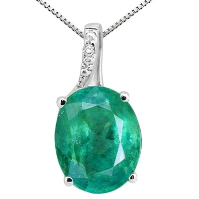 3.45Ct Oval Shaped Lab Created Emerald and Diamond Pendant in 10K Gold