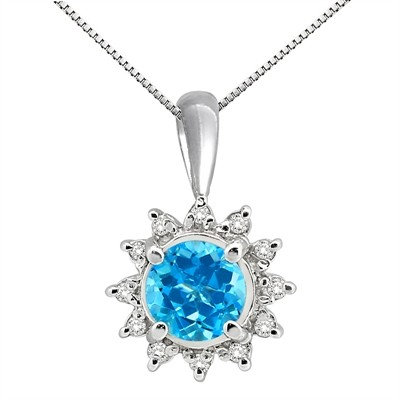 0.64Ct Round Shaped Blue Topaz and Diamond Pendant in 10K Gold