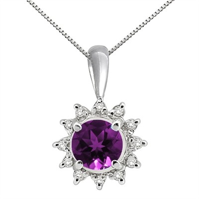 0.64Ct Round Shaped Amethyst and Diamond Pendant in 10K Gold