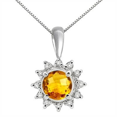 0.64Ct Round Shaped Citrine and Diamond Pendant in 10K Gold