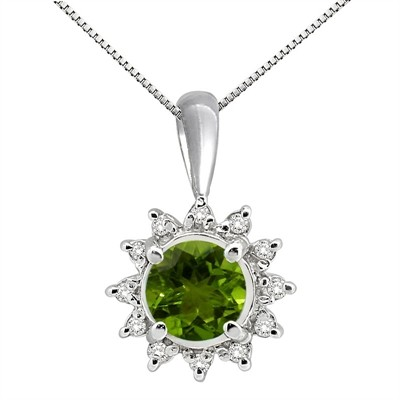 0.64Ct Round Shaped Peridot and Diamond Pendant in 10K Gold