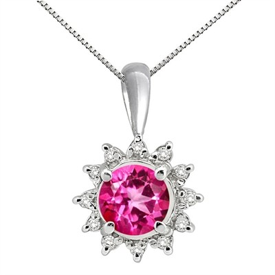 0.64Ct Round Shaped Pink Topaz and Diamond Pendant in 10K Gold