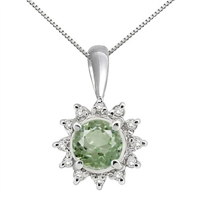 0.64Ct Round Shaped Green Amethyst and Diamond Pendant in 10K Gold