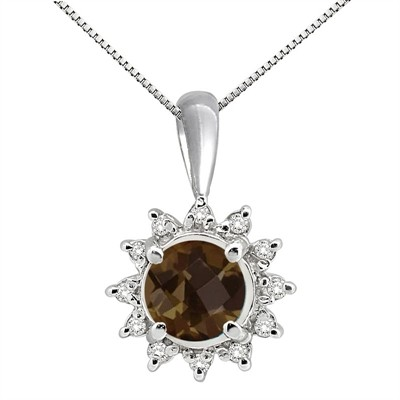 0.64Ct Round Shaped Smokey Quartz and Diamond Pendant in 10K Gold
