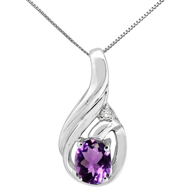 1.55Ct Round Shaped Amethyst and Diamond Pendant in 10K Gold