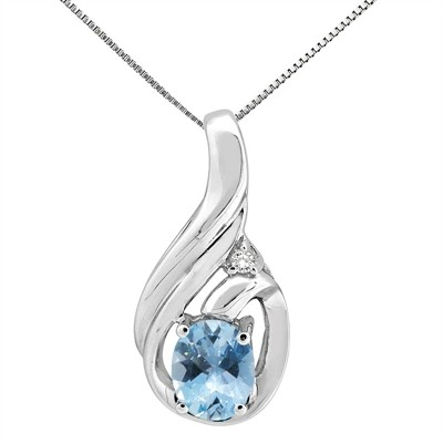 1.55Ct Round Shaped Aquamarine and Diamond Pendant in 10K Gold