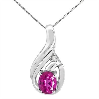 1.55Ct Round Shaped Pink Topaz and Diamond Pendant in 10K Gold