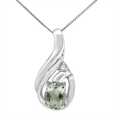1.55Ct Round Shaped Green Amethyst and Diamond Pendant in 10K Gold