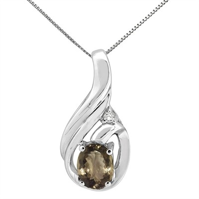 1.55Ct Round Shaped Smokey Quartz and Diamond Pendant in 10K Gold