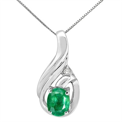 1.55Ct Round Shaped Emerald and Diamond Pendant in 10K Gold