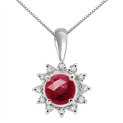 0.64Ct Round Shaped Lab Created Ruby and Diamond Pendant in 10K Gold
