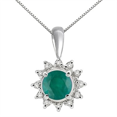 0.64Ct Round Shaped Lab Created Emerald and Diamond Pendant in 10K Gold