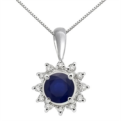 0.64Ct Round Shaped Lab Created Sapphire and Diamond Pendant in 10K Gold