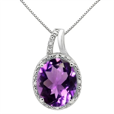 5.95Ct Oval Shaped Amethyst and Diamond Pendant in 10K Gold
