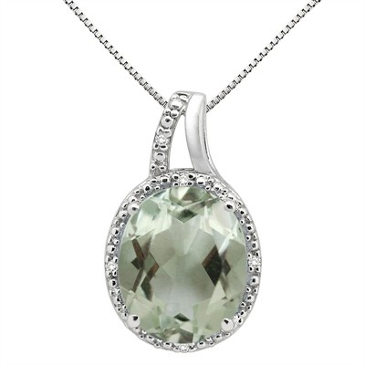 5.95Ct Oval Shaped Green Amethyst and Diamond Pendant in 10K Gold