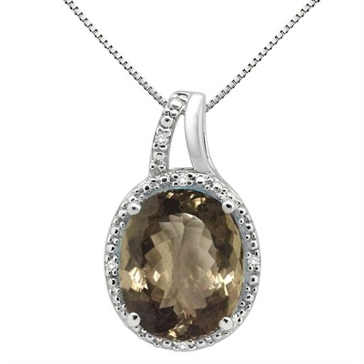 5.95Ct Oval Shaped Smokey Quartz and Diamond Pendant in 10K Gold