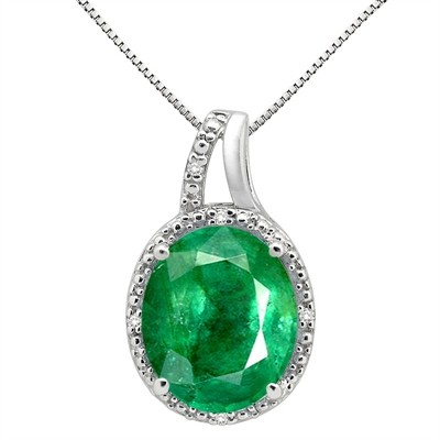 5.95Ct Oval Shaped Lab Created Emerald and Diamond Pendant in 10K Gold