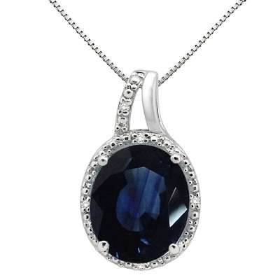 5.95Ct Oval Shaped Lab Created Sapphire and Diamond Pendant in 10K Gold