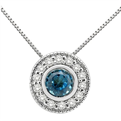 0.35Ct Round Shaped Blue Topaz and Diamond Pendant in 10K Gold