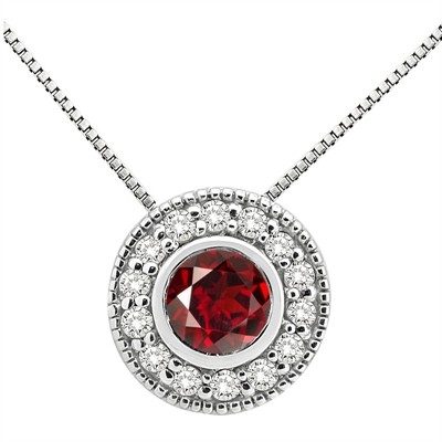 0.35Ct Round Shaped Garnet and Diamond Pendant in 10K Gold