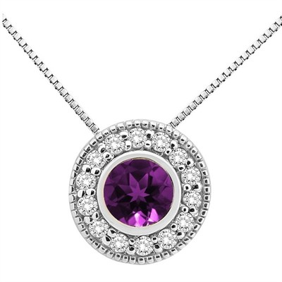 0.35Ct Round Shaped Amethyst and Diamond Pendant in 10K Gold