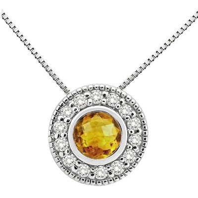 0.35Ct Round Shaped Citrine and Diamond Pendant in 10K Gold