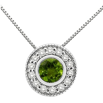 0.35Ct Round Shaped Peridot and Diamond Pendant in 10K Gold