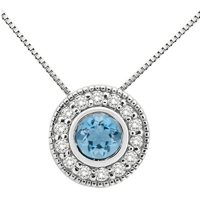 0.35Ct Round Shaped Aquamarine and Diamond Pendant in 10K Gold