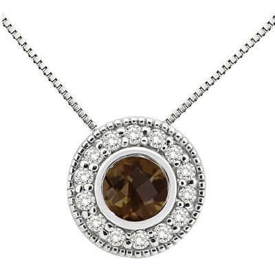 0.35Ct Round Shaped Smokey Quartz and Diamond Pendant in 10K Gold