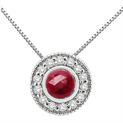 0.35Ct Round Shaped Ruby and Diamond Pendant in 10K Gold