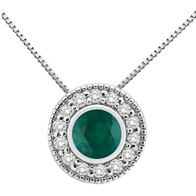 0.35Ct Round Shaped Emerald and Diamond Pendant in 10K Gold