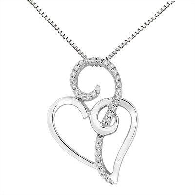 1/10Ct White Diamond Heart Pendant In Sterling Silver