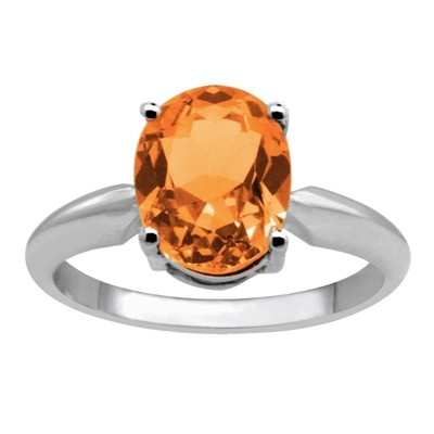 0.45Ct Oval Citrine Solitaire Ring in 14k Gold