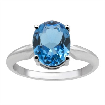 0.55Ct Oval Blue Topaz Solitaire Ring in 14k Gold