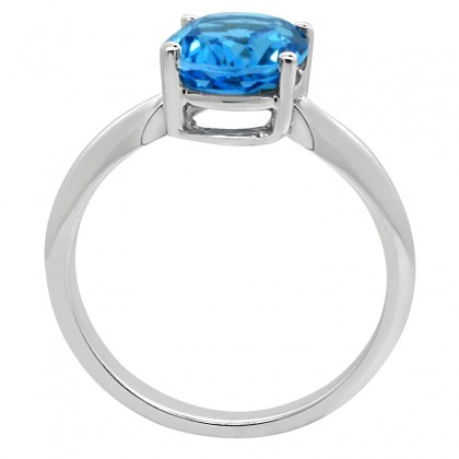 0.95Ct Oval Blue Topaz Solitaire Ring in 14k Gold