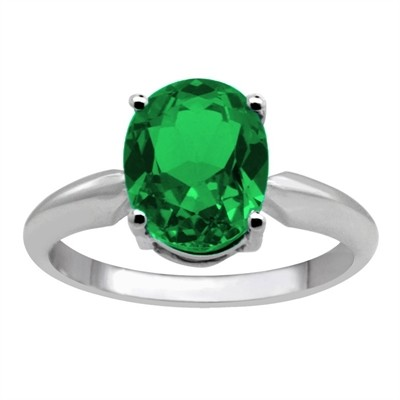 0.66Ct Oval Emerald Solitaire Ring in 14k Gold
