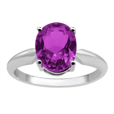 0.75Ct Oval Amethyst Solitaire Ring in 14k Gold