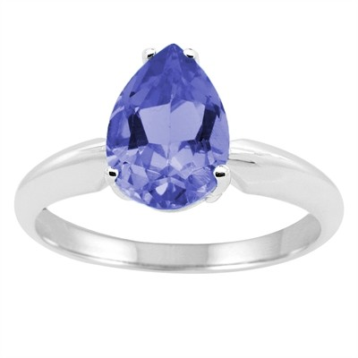 0.43Ct Pear Tanzanite Solitaire Ring in 14k Gold